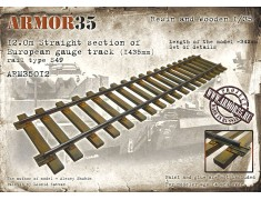 ARM35012 12.0m straight section of European gauge track (1435mm), rail type S49. Length of the model ~ 342mm.