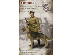 ARM35109 Soviet soldier of NKVD with a dog, WWII