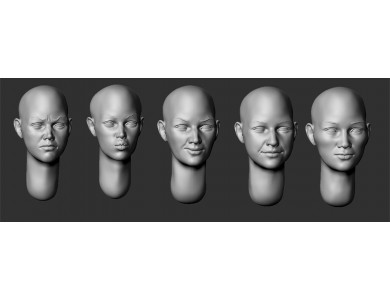 ARM356045 Bald female heads (set 3)